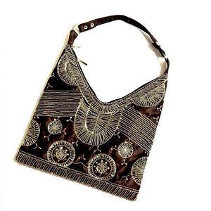 Vintage Y2K Brown Satin Beaded Hobo bag